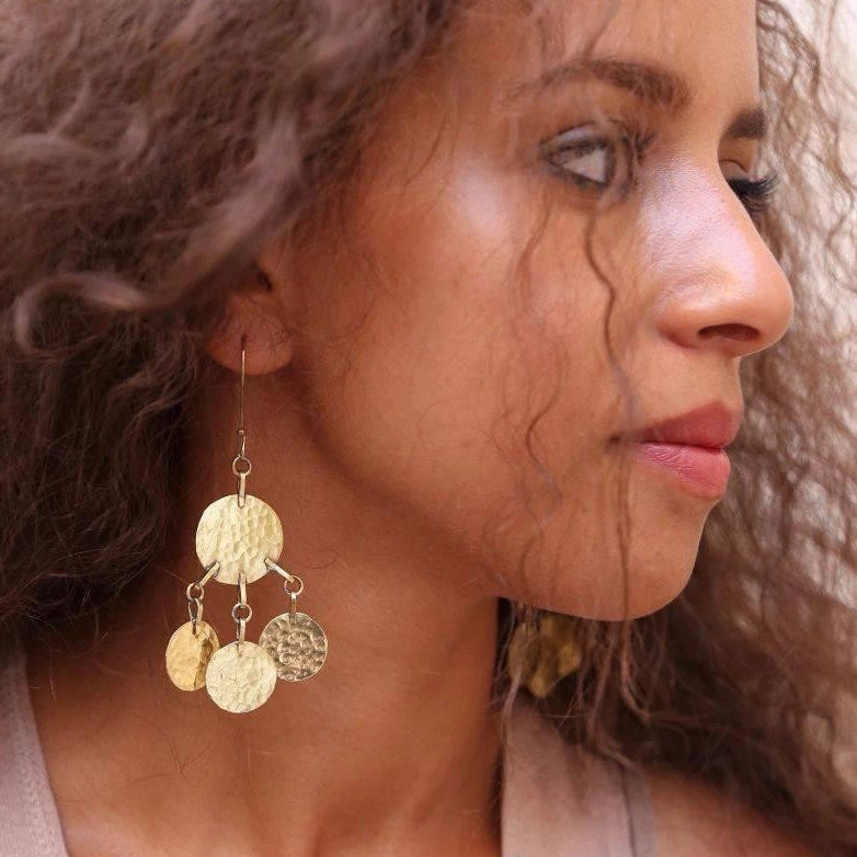 Floos Tiered Brass Earrings - Hamimi Design