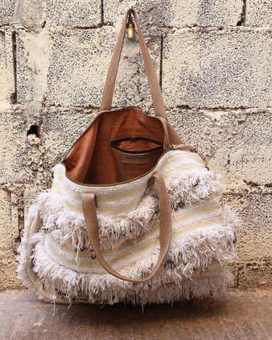Khenifra Overnight Bag - Latte & Natural White - Hamimi Design