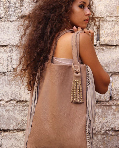 Gueliz Fringe Tote - Latte & Natural White - Hamimi Design