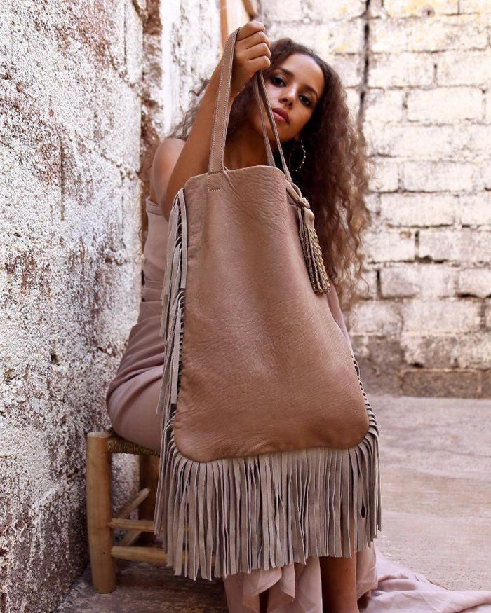 Gueliz Fringe Leather Tote - Hamimi Design