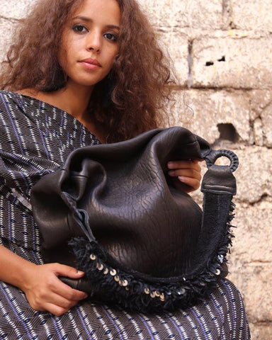 Black Beni Mellal Leather Shoulder Bag - Hamimi Design