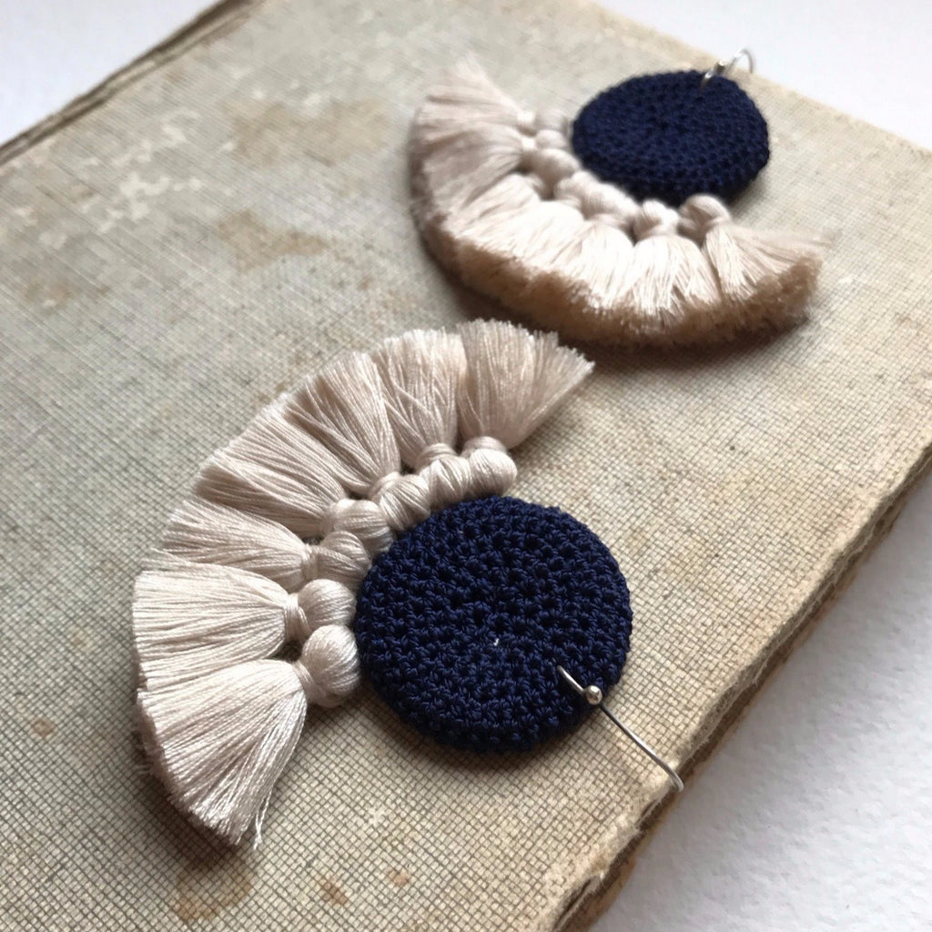 Crochet Disc Tassel Earrings - Midnight Blue & Beige - Hamimi Design