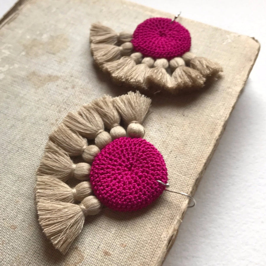 Crochet Disc Tassel Earrings - Fuchsia & Straw - Hamimi Design
