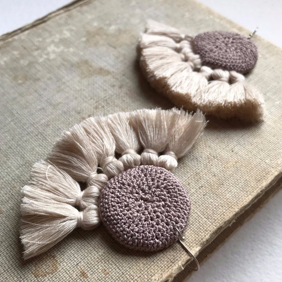 Crochet Disc Tassel Earrings - Mink & Beige - Hamimi Design