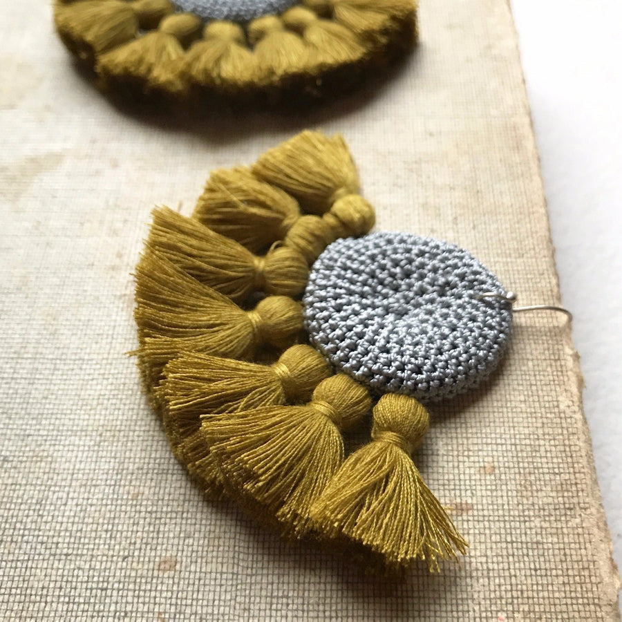 Crochet Disc Tassel Earrings - Grey & Cumin - Hamimi Design