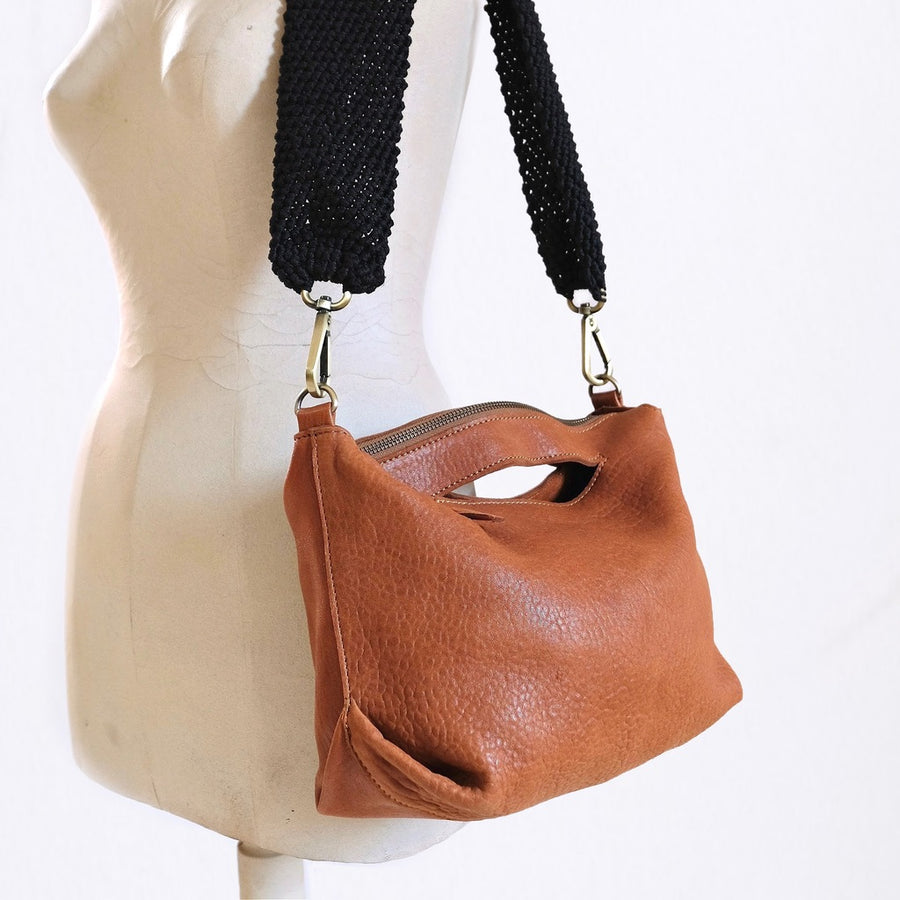 Ogda Shoulder Bag - Cognac with Honey Macrame Strap