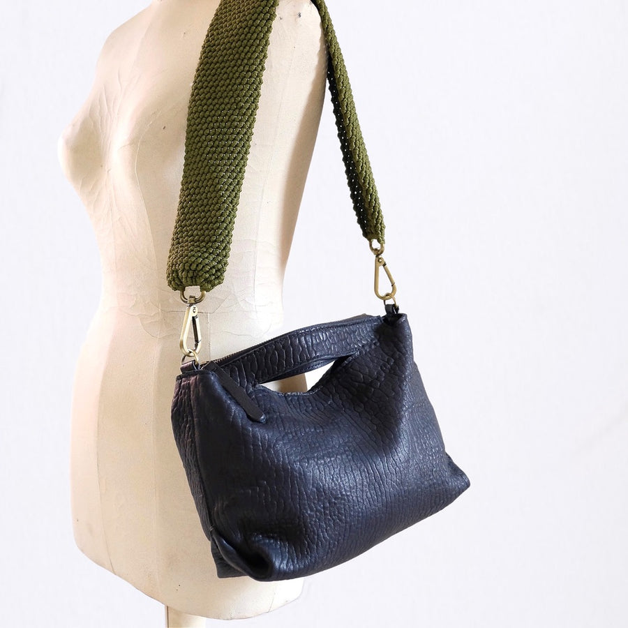 Ogda Shoulder Bag - Black with Olive Macrame Strap