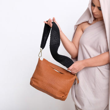 Ogda Shoulder Bag - Cognac with Black Macrame Strap