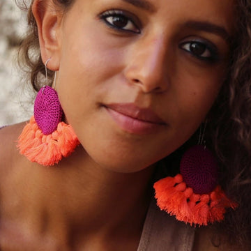 Crochet Disc Tassel Earrings - Fuchsia & Coral - Hamimi Design
