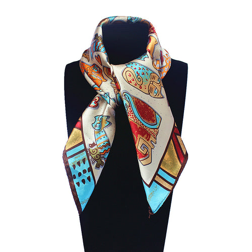 Cat Print Silk-Inspired Scarf
