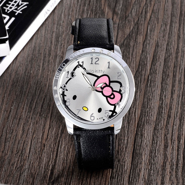 Cartoon Leather Hello kitty  Quartz Wristwatch