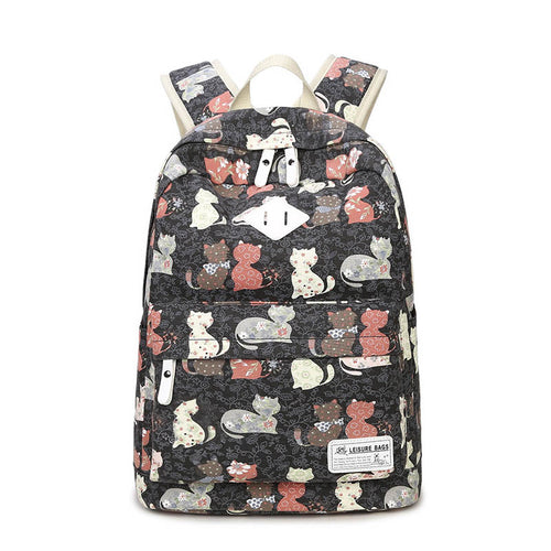 Canvas Cat Print Backpack For Women