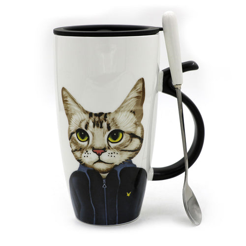 Cat Ceramic Mug with white spoon and black lid