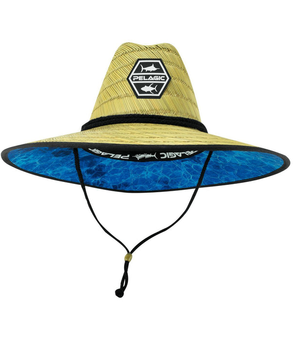 PELAGIC BAJA STRAW SUNHAT HEX BLUE