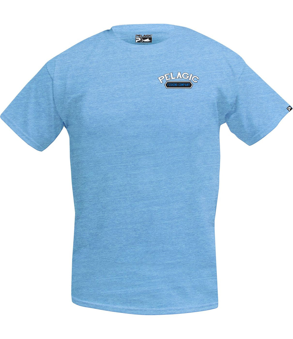 PELAGIC MARLIN COMPANY TEE HEATHER LITE BLUE