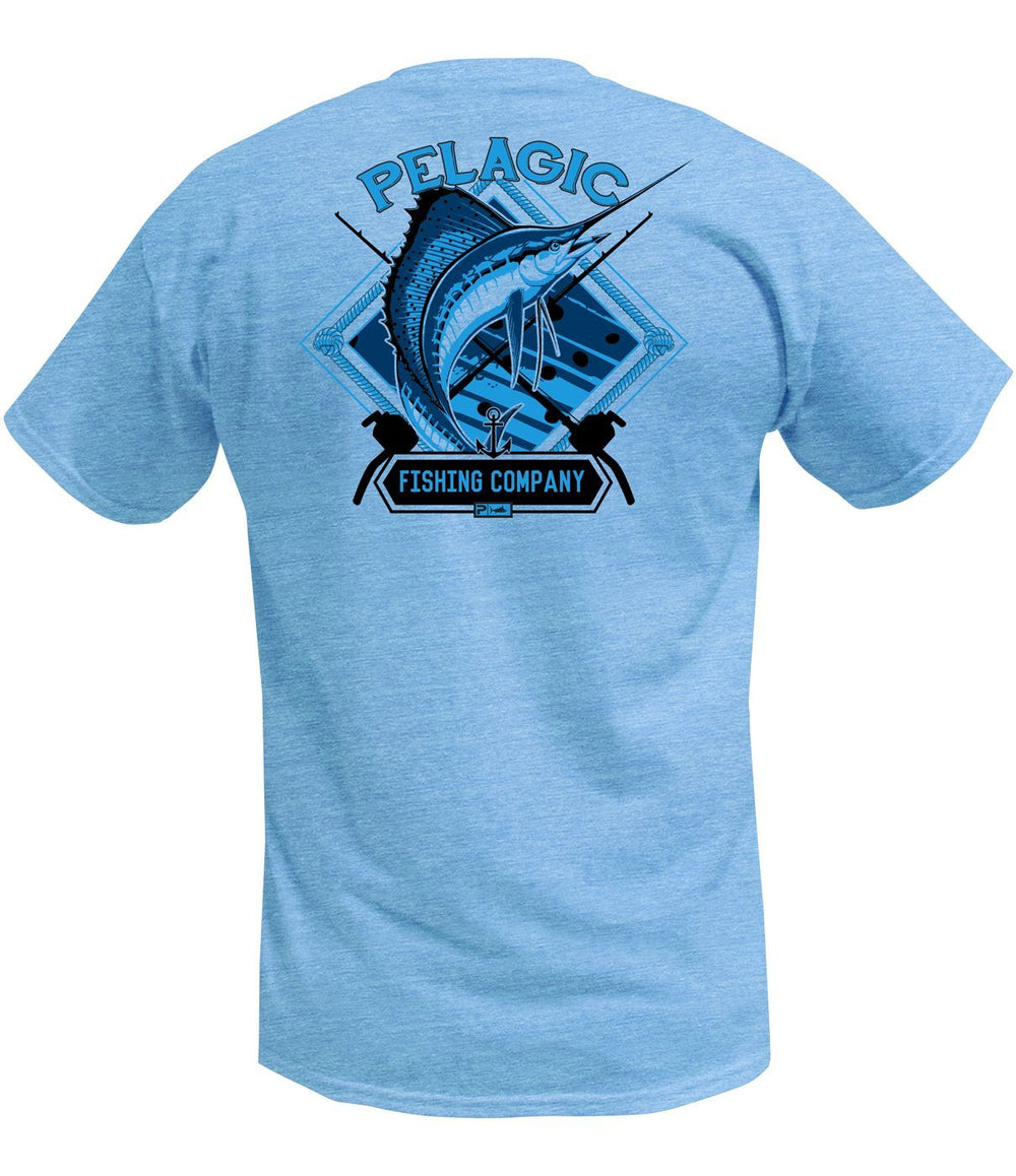 Pelagic Sailfish Company Tee - Heather Light Blue