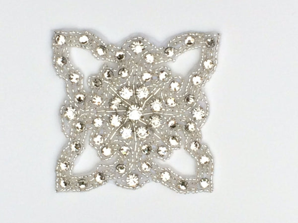 Bridal motif Rhinestone applique with silver beads