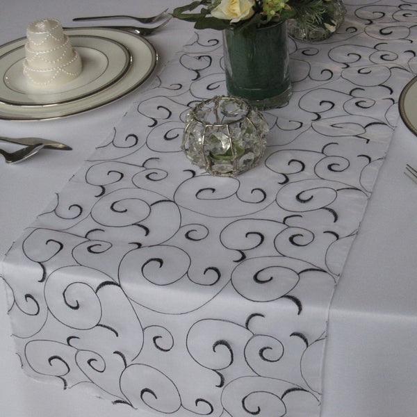 Black and White Swirl Organza Table Runner