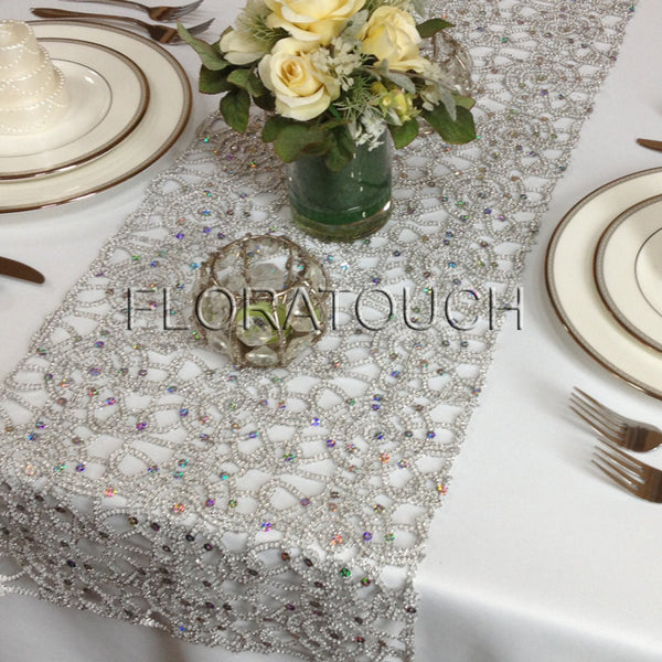 Silver Metallic Lace Sequin Table Runner