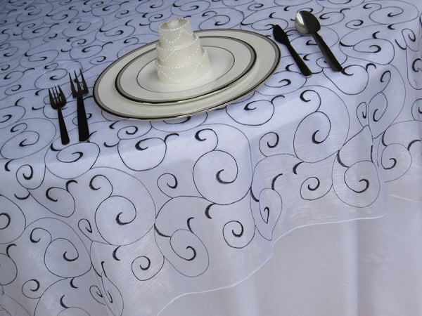 White and Black Swirl Organza Tablecloth Table Overlay
