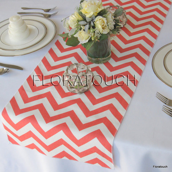 Coral and White Chevron Table Runner