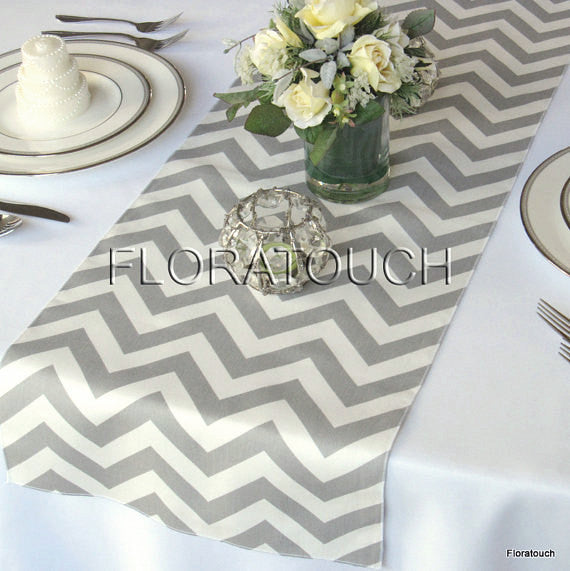 Gray and White Chevron Table Runner