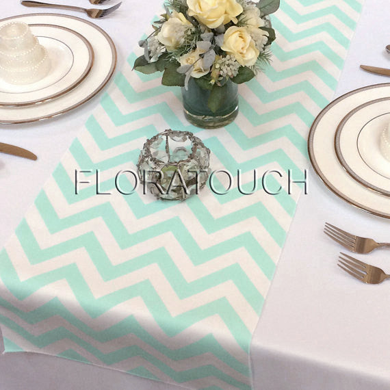 Mint and White Chevron Table Runner