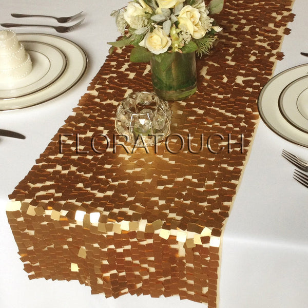Gold Dazzle Square Sequin Table Runner