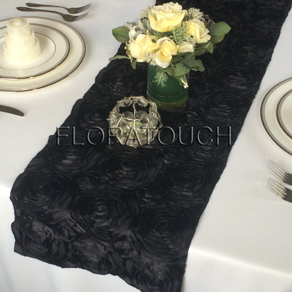 Black Satin Rosette Table Runner