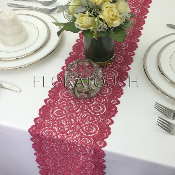 "Dark Red Light Burgundy Lace Table Runner with Scalloped Edge 7"" wide"