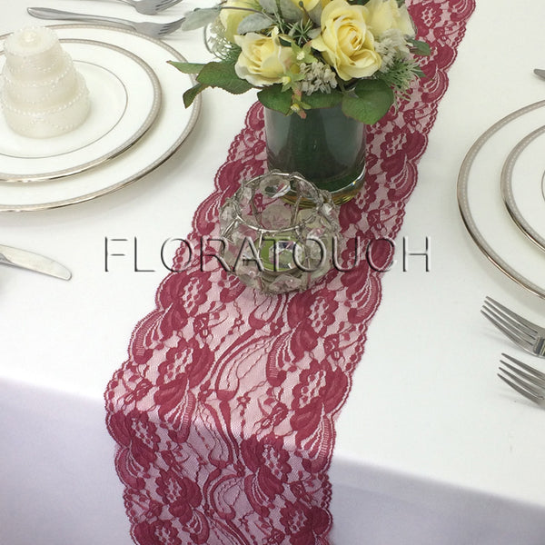 Dark Red Light Burgundy Floral Swirl Lace Table Runner
