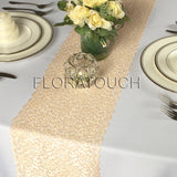 Champagne Gold Lace Table Runner with Scalloped Edge Wedding Table Runner LCG05