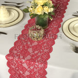 Burgundy Lace Table Runner with Large Scalloped Edge Style LBurg01