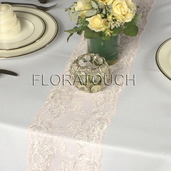"Blush Pink Lace Table Runner with Metallic Silver Flowers - Narrow Lace 6.5"" wide"
