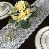 "Small Flowers Off White Lace Table Runner 8.25"" wide"