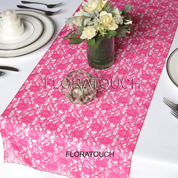 Hot Pink Lace Table Runner