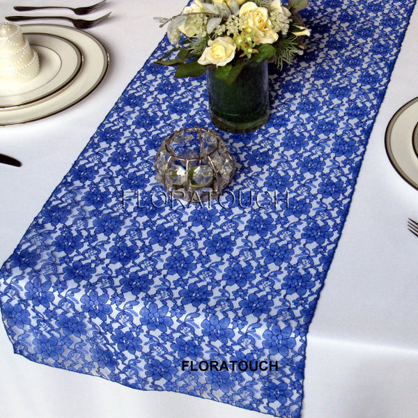 Royal Blue Lace Table Runner