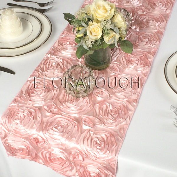 Blush Pink Satin Rosette Table Runner