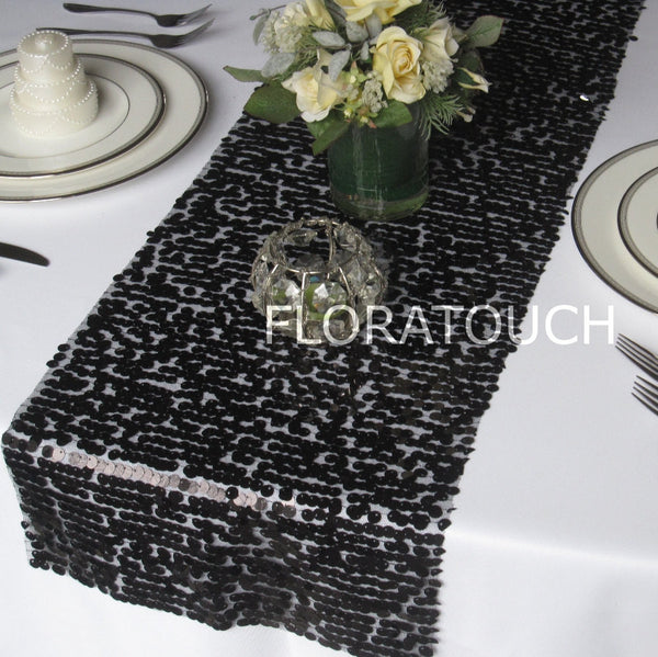 Black Sparkling Sequin Table Runner