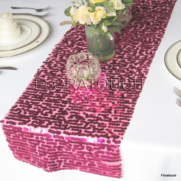 Hot Pink Sparkling Sequin Table Runner