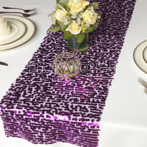 Purple Sparkling Sequin Table Runner