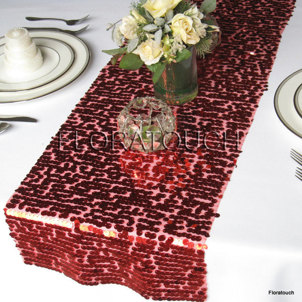 Red Sparkling Sequin Table Runner
