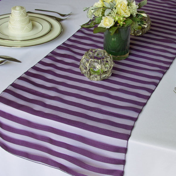 Tuxedo Plum Striped Organza Table Runner