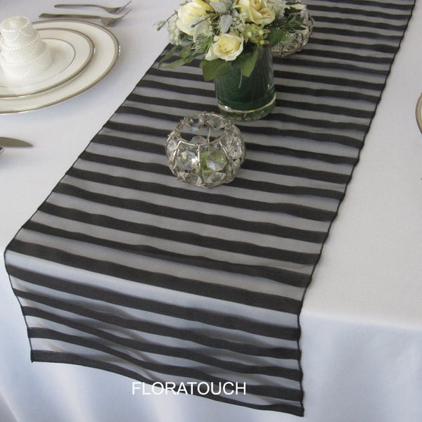 Tuxedo Black Striped Organza Table Runner