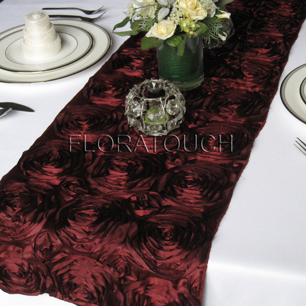 Burgundy Satin Rosette Table Runner