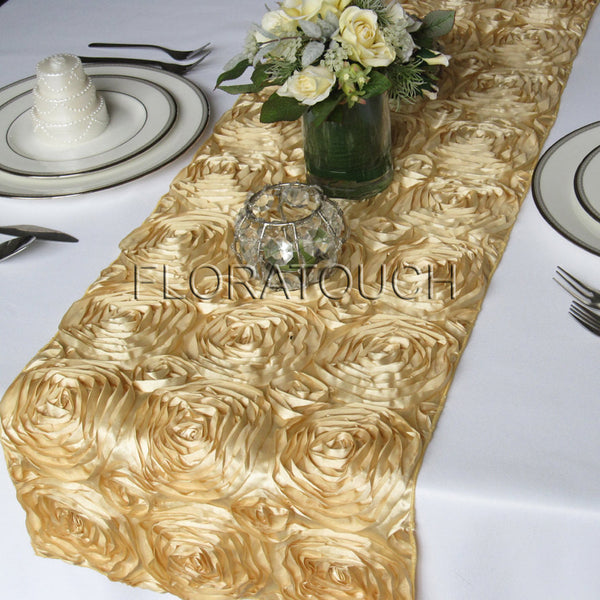 Gold Satin Rosette Table Runner