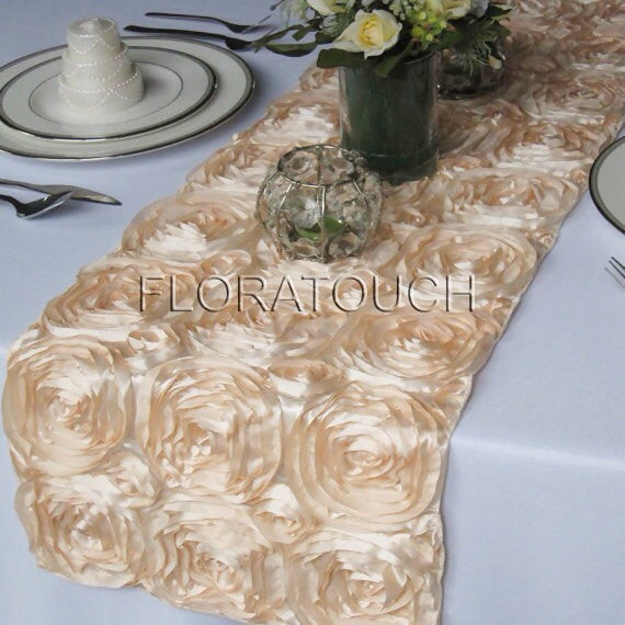 Champagne Satin Rosette Table Runner