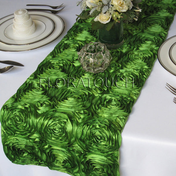 Green Satin Rosette Table Runner