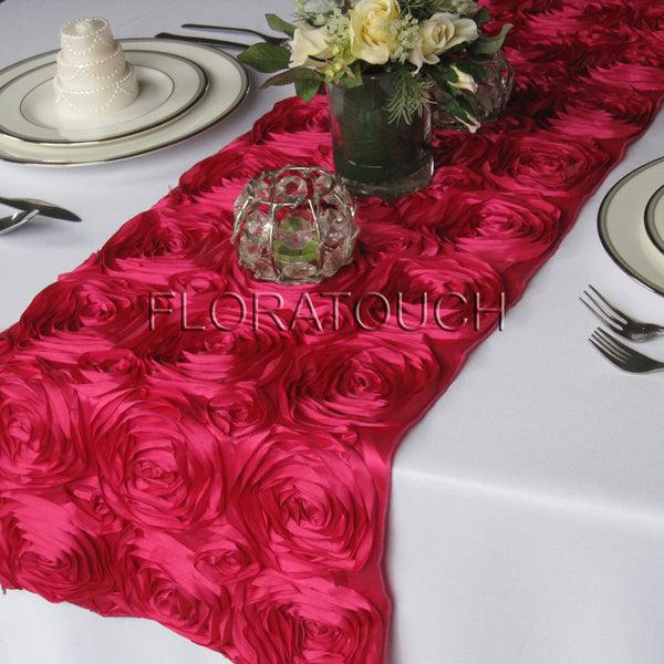 Hot Pink Satin Rosette Table Runner