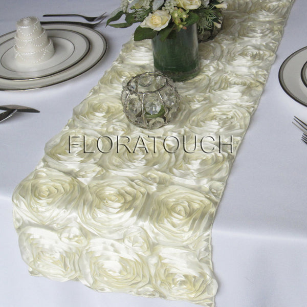 Ivory Satin Rosette Table Runner